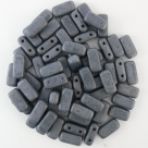 #10.00 - 20 Stück Two-Hole Brick 4x8mm - Jet Hematite Matt