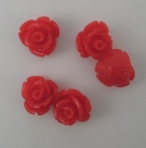 5 Stück Resin Rose Beads ca. 11x7 mm - Red