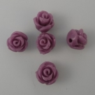 5 Stück Resin Rose Beads ca. 8x8 mm - Purple
