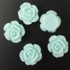 5 Stück Resin Rose Beads ca. 12,5x6,5 mm - Aquamarine