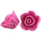 5 Stück Resin Rose Beads ca. 12,0 mm - Fuchsia