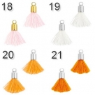 5 Stück Mini-Perlen-Quasten (ca. 1,5cm)  Ibiza Style - silberne Endkappe mit Öse - verschiedene Farben