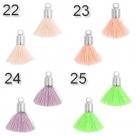 5 Stück Mini-Perlen-Quasten (ca. 1,5cm)  Ibiza Style - goldene Endkappe mit Öse - verschiedene Farben