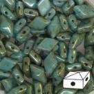 #06.02 - 25 Stück Diamonduo 5x8 mm - Opaque Green Turquoise Gold Luster