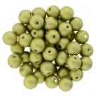 #50.09 25 Stück Perlen rund Top Hole - Satin Metallic Chartreuse - Ø 6 mm