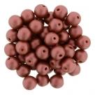#50.00 25 Stück Perlen rund Top Hole - Satin Metallic Sangria - Ø 6 mm