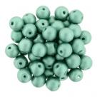 #50.08 25 Stück Perlen rund Top Hole - Satin Metallic Teal - Ø 6 mm