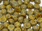 #39a 25 Stck. 2-Hole Cabochon 6mm Lemon Picasso