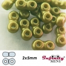 2 g - Infinity-Mini Beads - 2x5mm - alabaster pastel olivine