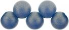 #51.03 1 Strang Perlen rund Top Hole - Sueded Gold Capri Blue - Ø 6 mm