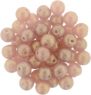 #51.08 1 Strang Perlen rund Top Hole - Sueded Gold Milky Pink - Ø 6 mm