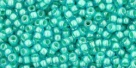 10 g TOHO Seed Beads 11/0 TR-11-0954 - Inside-Color Aqua/Lt. Jonquil Lined (E)