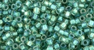 10 g TOHO Takumi Large Hole Seed Bead TTR-11-0264 - Inside Color Rainbow Crystal/Teal Lined
