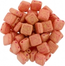 50 Stück Two-Hole Flat Square 6mm - Pacifica-Strawberry