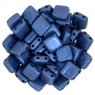 50 Stück Two-Hole Flat Square 6mm - Metallic Suede - Blue