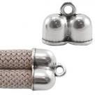 1 Stück Doppel-Endkappe - ca. 20 x 24 mm - Innenmaß: Ø 10 mm - antik silberfarben