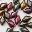 #01.00 - 25 Stück GemDUO 5x8 mm - Crystal Matte Metallic Purple Iris Gold