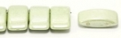 #02.01 - 10 Stück Zweiloch-Glasperle 9x17 mm - Chalk White Olivine Coating