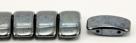 #03.01 - 10 Stück Zweiloch-Glasperle 9x17 mm - Jet Hematite