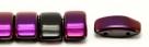 #03.02 - 10 Stück Zweiloch-Glasperle 9x17 mm - Jet Half Pink Luster