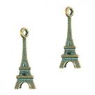 1 Eiffelturm Boho 22x8 mm - antikbronze - grün patina