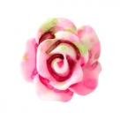 5 Stück Resin Rose Beads ca. 10 mm - Aquarell-Painted - lt pink green
