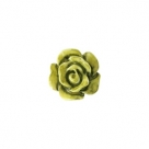 #23c - 5 Stück Resin Rose Beads ca. 6 mm - Aquarell-Painted - olive green