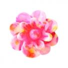 5 Stück Resin Flower Beads ca. 12 mm - Aquarell-Painted - pink yellow
