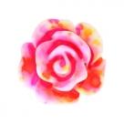 5 Stück Resin Rose Beads ca. 10 mm - Aquarell-Painted - pink yellow