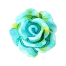 5 Stück Resin Rose Beads ca. 10 mm - Aquarell-Painted - turquoise yellow
