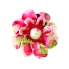 5 Stück Resin Flower Beads ca. 12 mm - Aquarell-Painted - dk rose white green