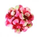 5 Stück Resin Flower-Bouquet Beads ca. 10 mm - Aquarell-Painted - dk rose white green