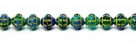 #15 25 Stück Fizgigs - Ø 6 mm - op. sapphire/tr. emerald