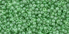 10 g TOHO Seed Beads 11/0 TR-11-0343 - Inside-Color Crystal/Apple Green (E)