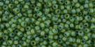 10 g TOHO Seed Beads 11/0 TR-11-0947 F - Inside-Color Frosted Lime Green/Opaque Green-Lined (E)