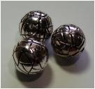 1 Stck. gr. Metall-Look-Perle - Ø ca. 20 mm - altsilberfarben Typ11