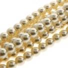 1 Strang - 10,0 mm Glaswachsperlen - cream pearl