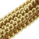 1 Strang - 12,0 mm Glaswachsperlen - gold
