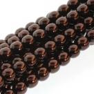 1 Strang - 08,0 mm Glaswachsperlen - dk bronze pearl