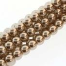 1 Strang - 08,0 mm Glaswachsperlen - cocoa pearl