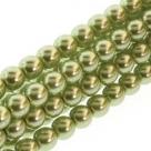 1 Strang - 08,0 mm Glaswachsperlen - olivine