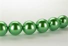 15 Stück - 14,0 mm Glaswachsperlen - green