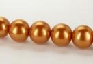 15 Stück - 14,0 mm Glaswachsperlen - gold-orange