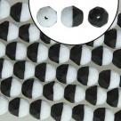 #14.10 20 Stück - 8,0 mm Glasschliffperlen - DUET jet/weiß matt