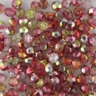 #102.00 50 Stück - 4,0 mm Glasschliffperlen - Crystal Half Labrador - Dual Coated - Red/Lemon