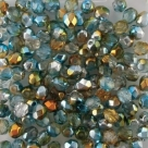 #102.02 50 Stück - 4,0 mm Glasschliffperlen - Crystal Half Labrador - Dual Coated - Orange/Teal