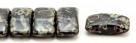 #03.07 - 10 Stück Zweiloch-Glasperle 9x17 mm - Jet Picasso