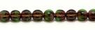 25 Stück Perlen Melone - Ø 6mm Tr. Emerald/Orange Wash