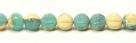 25 Stück Perlen Melone - Ø 6mm Opaque Beige/Opaque Green Turquoise