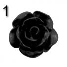 #01 - 5 Stück Resin Rose Beads ca. 10x6 mm - schwarz - matt